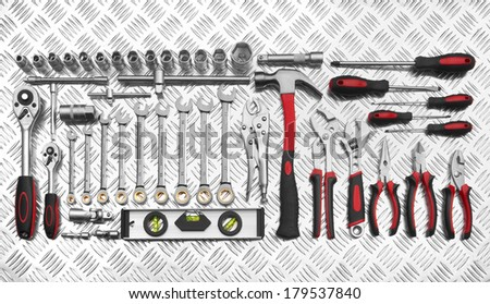 Many Tools on metal background - stock photo