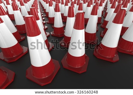 Many traffic cones - stock photo