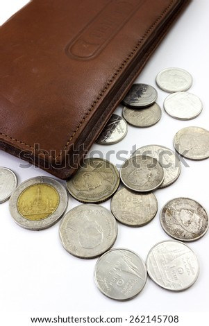 many type thai bath coins photo stock - stock photo