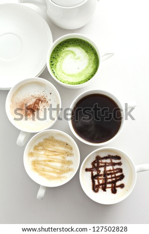 Many types of coffee - stock photo