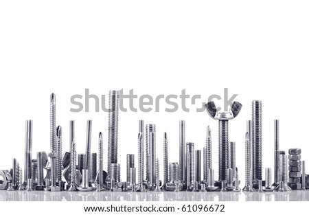 many types of metal bolts, isolated