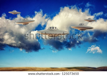 many ufo flying in the sky - stock photo