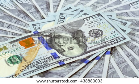 Many 100 US dollars bank notes business background