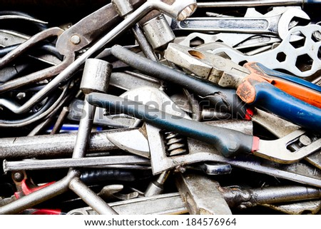 many used tools in the toolbox. - stock photo