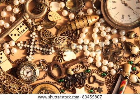 Many vintage items and jewelry - stock photo