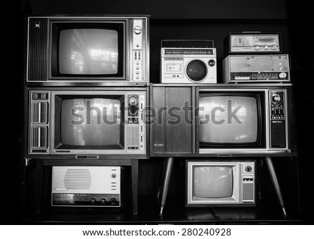 many vintage television and radio - stock photo