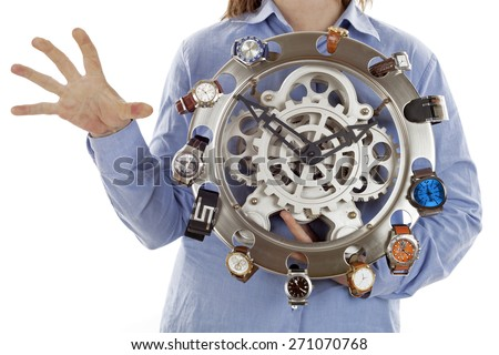 many watches and woman holding one hand on tension, Metaphor of stress, over time ... - stock photo