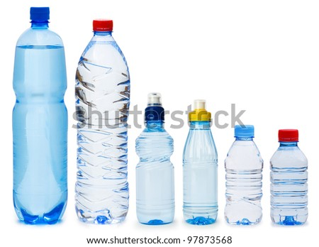 Many water bottles isolated on white - stock photo