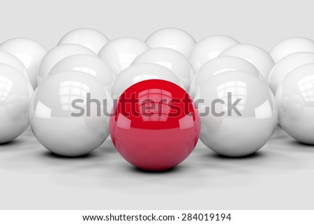 Many white balls among which the red stands out. 3D render image. - stock photo