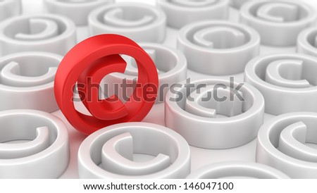 Many white copyright symbols around red one - stock photo