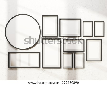 Many white frames on wall, one round. Concept of exhibition. Mock up. 3D rendering