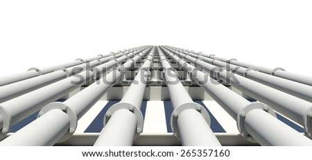 Many white industrial pipes stretching into distance. Isolated on white background - stock photo