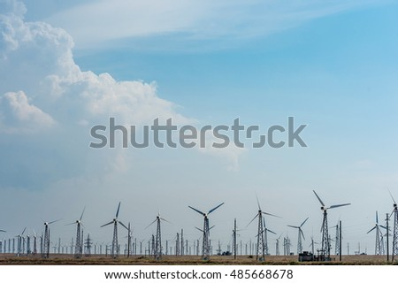 Many wind turbines.
