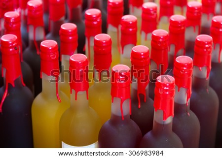 Many wine bottles at  store or winery   - stock photo
