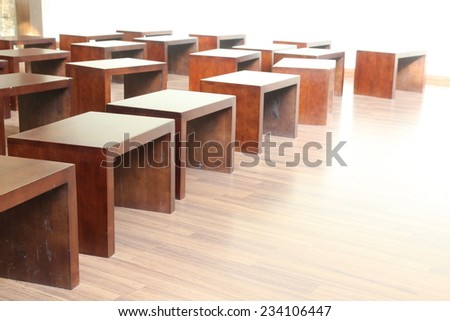many wood chair in room ,Empty classroom with chairs, desks and chalkboard. wood box and floor