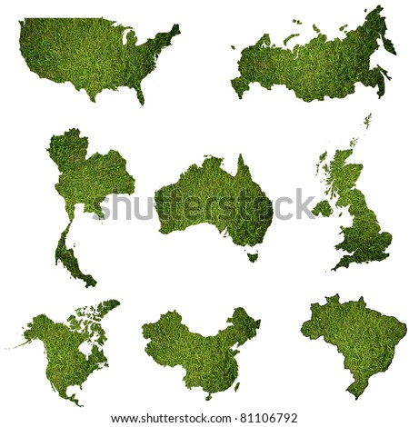 Many world map with grass field.