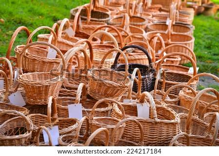 Many woven baskets  - stock photo