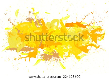 Many yellow spatters and spray on the white background.