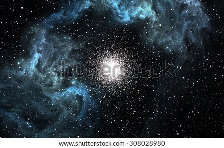 Many young stars are born in the blue Nebula - stock photo
