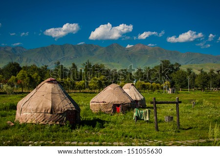 Many yurts in Bayanbuluk, Xinjiang - stock photo