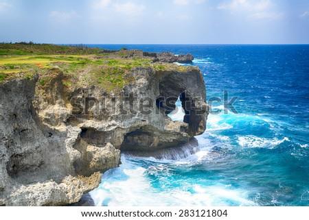 Manzamo Cape in Okinawa, Japan - stock photo