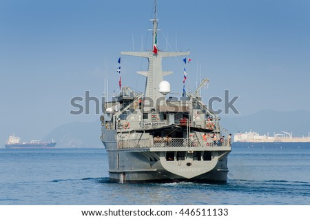 MANZANILLO, MEXICO- OCTOBER 9, 2013: Mexican Navy ship - Zapoteco