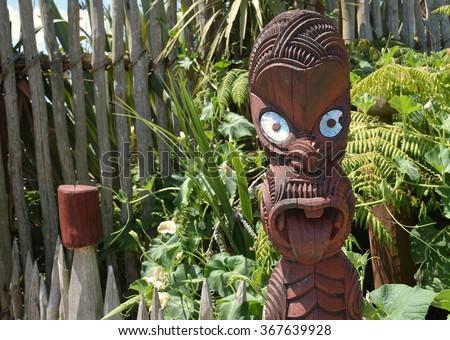 Maori Carving. New Zealand - stock photo