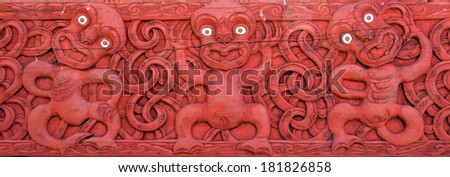 Maori designs on a meeting house - stock photo