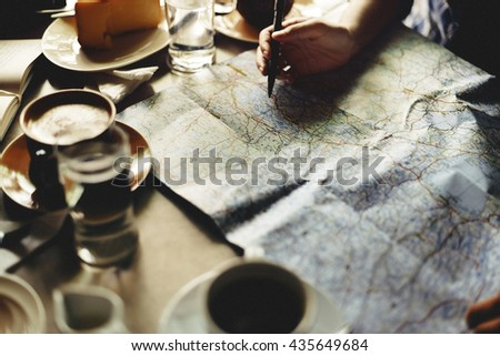 Map Adventure Destination Navigation Route Trip Concept