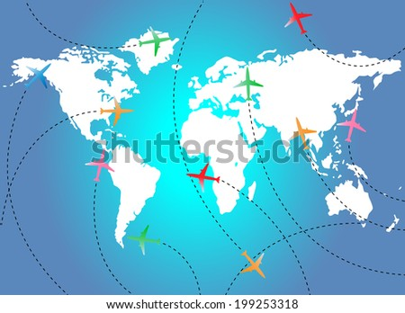 Map and airplanes - stock photo