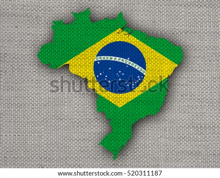 Map and flag of Brazil on old linen