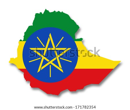 Map and flag of Ethiopia
