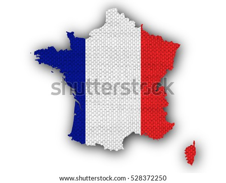 Map and flag of France on old linen