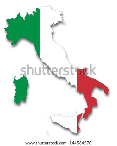 Map and flag of Italy