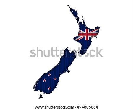 Map and flag of New Zealand on corrugated iron