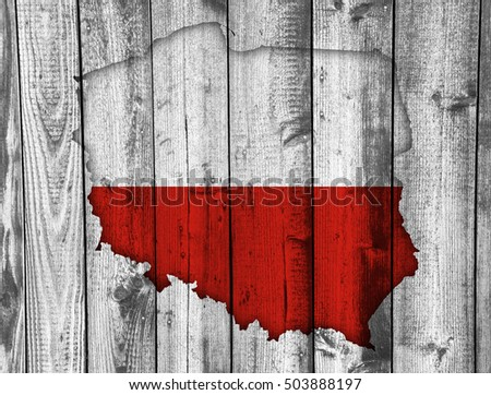 Map and flag of Poland on weathered wood