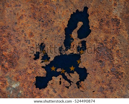 Map and flag of the EU on rusty metal