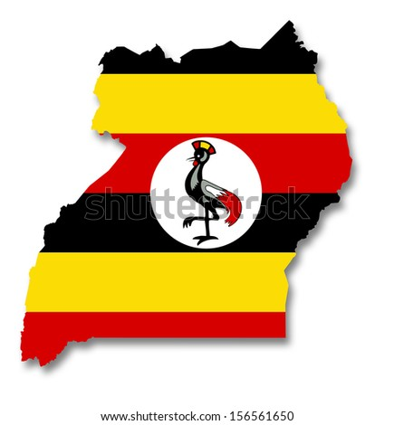 Map and flag of Uganda