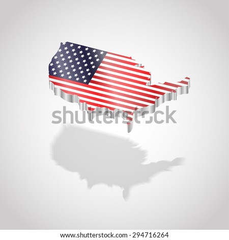 Map and flag of USA isolated