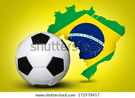Map and Soccer ball of Brazil 2014 on yellow background