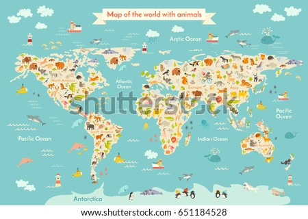 Map Animal Kid Continent World Animated Stock Illustration - Continents map for kids