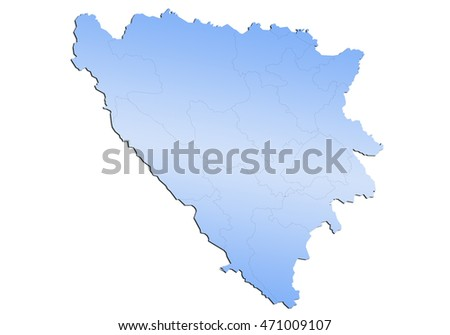 map-bosnia Herzegovina Cantons country on white background.