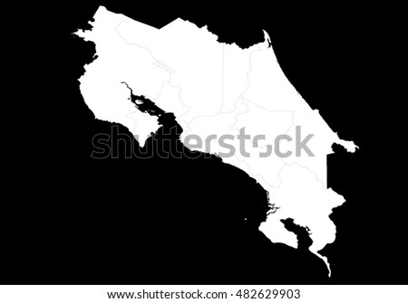 map- Costarica country on white background.