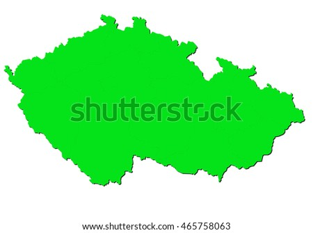 map-czech Republic country on white background.