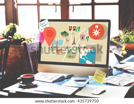 Map Direction Location Position Navigation North Concept - stock photo