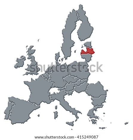 Map - European Union, Latvia