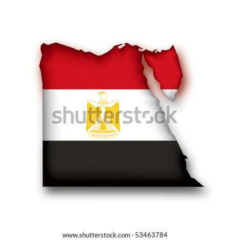 map flag Egypt - stock photo
