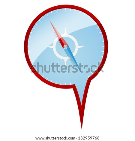 Map flag or pin deisgn with compass inside. Isolated on white