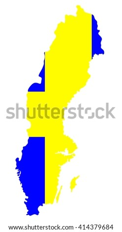 Map geographical territory outline and flag of country Sweden. White. - stock photo