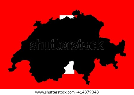 Map geographical territory outline and flag of country Switzerland. Black. - stock photo